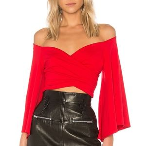 Off the Shoulder Red Bell Sleeve Wrap Top Blouse